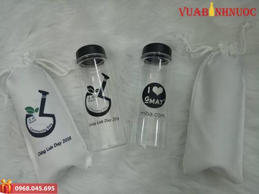 Bình Nước Nhựa My Bottle Kèm Túi Vải In Logo