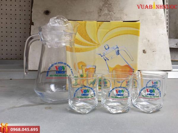 Bộ bình cốc thủy tinh quà tặng in logo